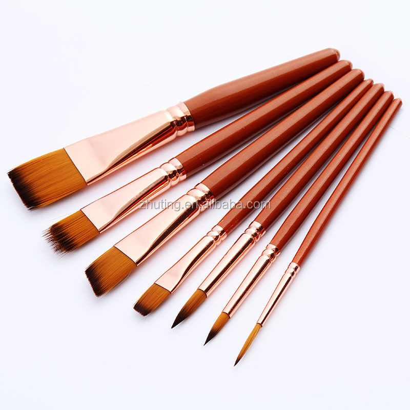 7pcs high quality nylon hair artist oil watercolor painting brush art brush