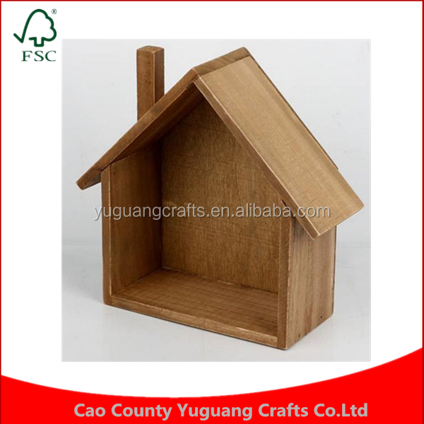 Concise style Customized factory Zakka home grocery retro old House shape office desktop small things wooden storage box