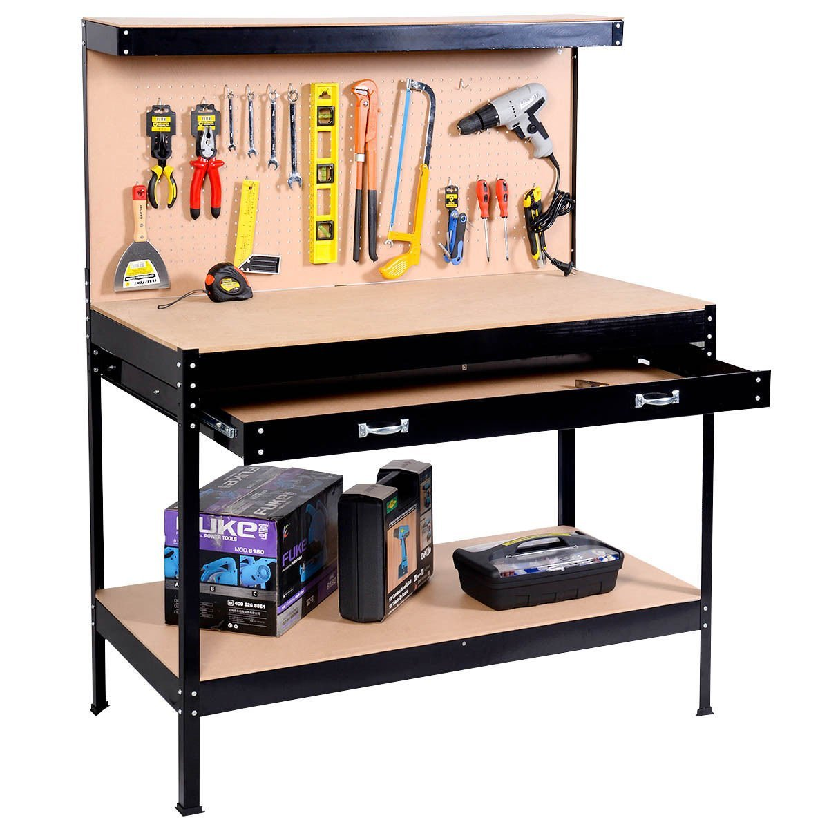 Work Bench Tool Storage Steel Frame Tool Workshop Table W/ Drawers and Peg Boar ..(from#_youidea; TRYK100391470212389
