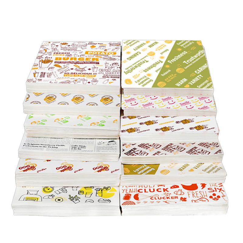 Groothandel Aangepaste Gedrukte Logo En Grootte Voedsel Veilig Grade Burger Papier Vetvrij Deli Vlees Wikkelen Wax Gecoat Papier
