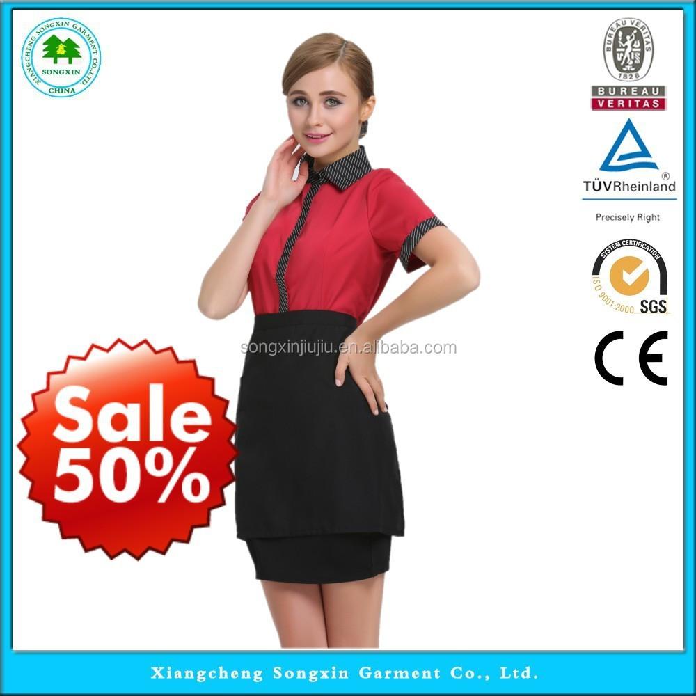 New Stytle waitress uniform,sexy waitress uniform,waiter and waitress  uniform design