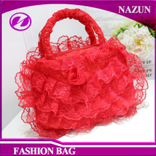 2017 customized new designer fashion women silk fabric bridal ladies bags with lace edge