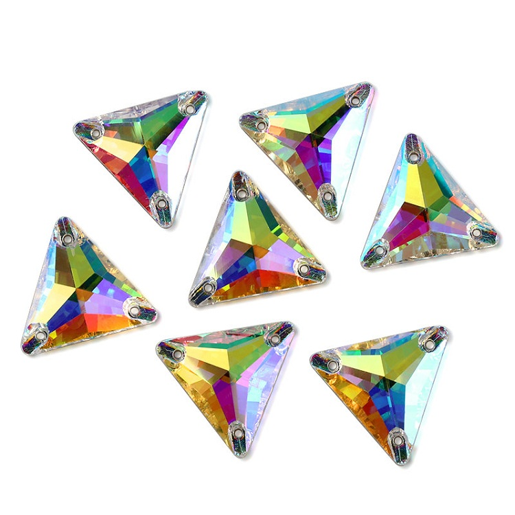 Top Triangle 16mm 22mm Crystal AB Sew On Stone 3 Holes Glass Rhinestones For Hair Clothes Sewing on Clothing