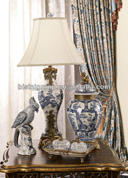 Elegant Hand Painted Blue And White Porcelain Table Lamp, Royal Luxurious  Porcelain And Brass Home