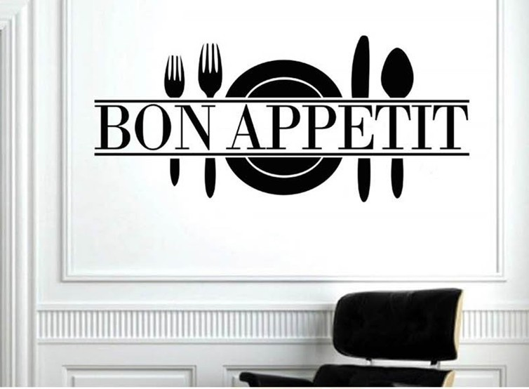 French Language bon APPetit art quote wall sticker home decoration bedroom removable DIY vinyl wall stickers