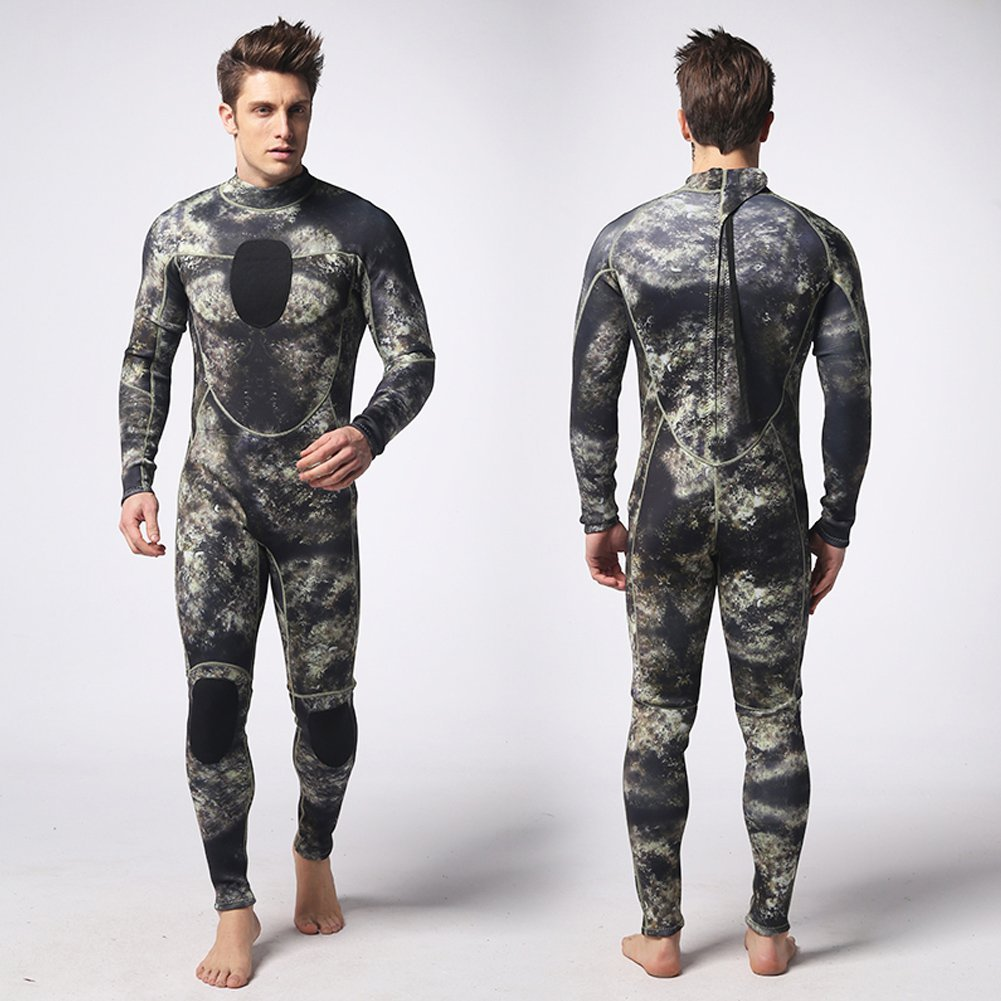 de77fb10cd Get Quotations · Camo Spearfishing Wetsuits Mens 3mm SCUBA Free Diving Suit  with Super-stretch Armpit for Diving