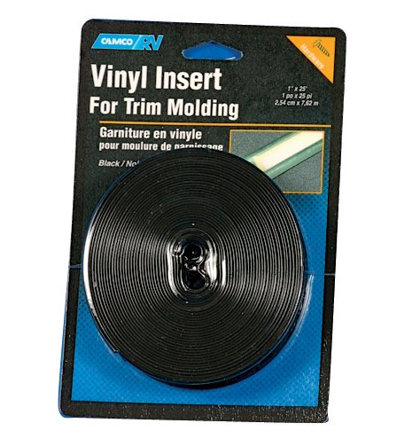 Camco Vinyl Trim Insert with UV Inhibitors for Extended Life - Replace Cracked and Stained RV Trim Inserts (3/4 x 25', Black) (25163)