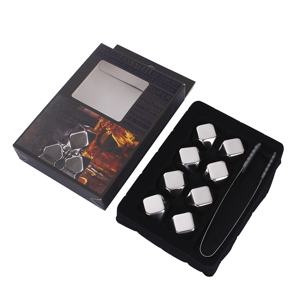 Beverage chilling gold diamond shape stainless steel whiskey stone eco-friendly ice cube