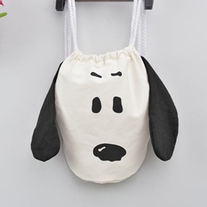 Cute cartoon dog cotton canvas back pack shoulder bag kids Drawstring sports backpack