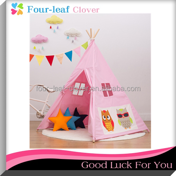 Pink Color Kids Playing Teepee Tent, Cotton Canvas Teepee Fabric With Wooden Poles, Children Indoor Teepee House