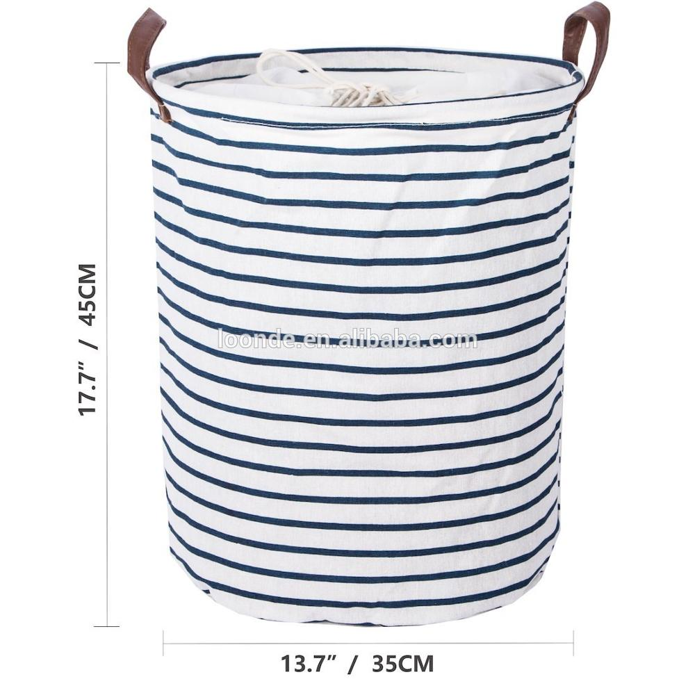 Laundry Basket Drawstring Waterproof Round Cotton Linen Collapsible Storage Basket Blue Strips