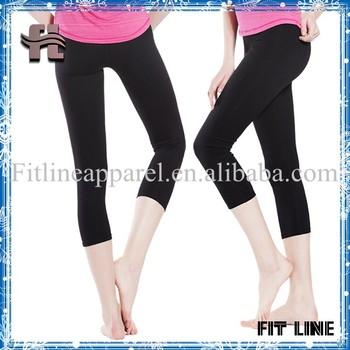 d6be6b3ab6ee61 Polyester/spandex sportswear women fitness capri pants solid color 3/4  leggings high waist