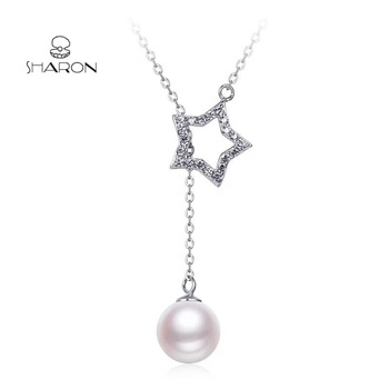 Fashion Jewelry Women'S Accessories Star Link Chain Sterling Silver Fancy Pearl Pendant