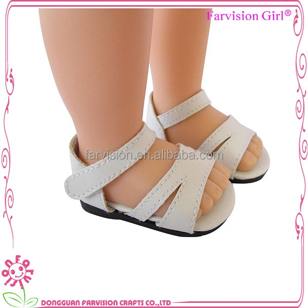 Wholesale doll shoes white PU dancing doll toy shoes