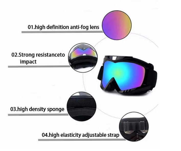 HD Dust-proof Windproof Snow Snowboard Ski Goggles Protective Safety Skiing Eyeglasses Glasses Double Lenses Anti Fog Outdoor