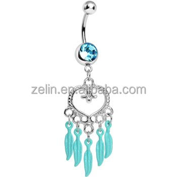 Aqua Gem Heart Full of Dreamcatcher Dangle Belly Ring Body Jewelry neon bellyring