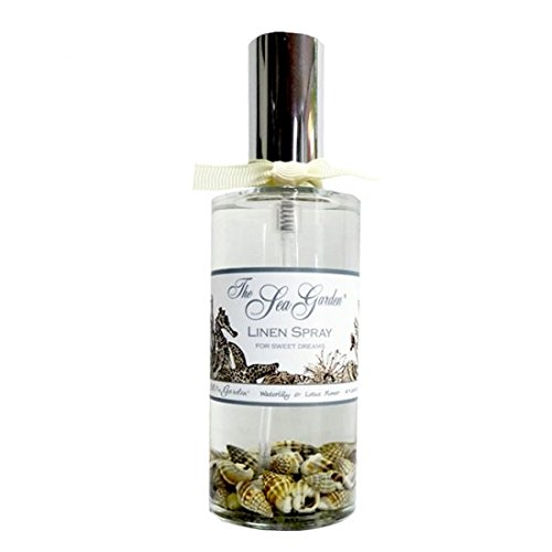 Sprinkles Gifts Kiss me in the Sea Garden 4 oz Waterlily & Lotus flower Linen Spray In glass with silver sprayer & sea shells. Alcohol-free pillow room spray