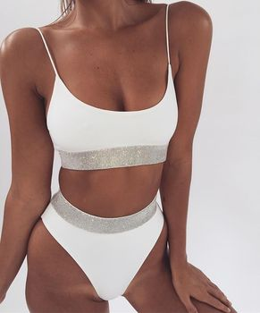 0421f1f3a4 2019 New Arrival Sexy High Waist Swimsuit String Bikini Split Bathing  Sequins Pure For Ladies