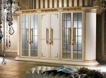 Antieke klassieke slaapkamer kleding kast deur spiegel kast