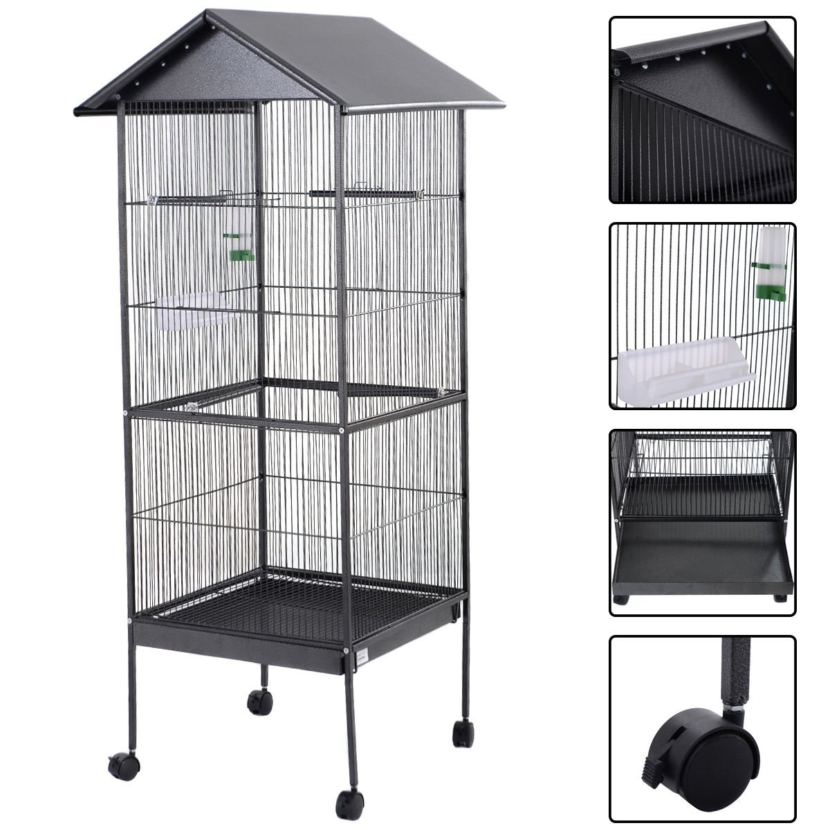 "61"" Large Parrot Bird Cage Play Top Pet Supplies w/Perch Stand Two Doors Iron"