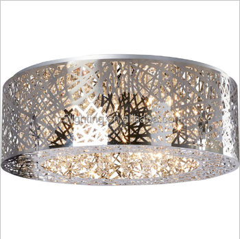 Contemporary Etch Stainless Steel Nest Shape Mica Flush Mount With K9 Crystal Modern Ceiling Lamp