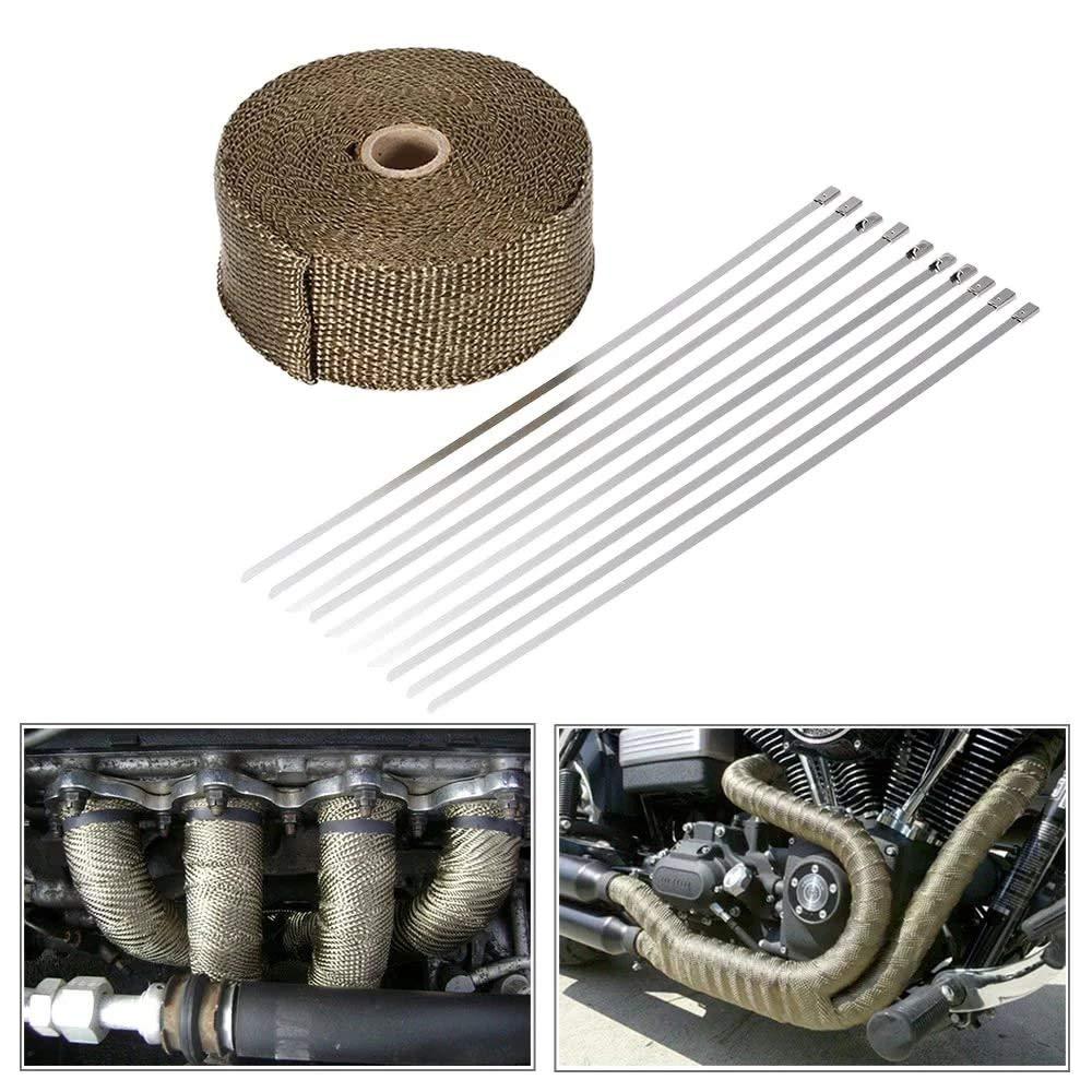 """2/"""" x 50FT Exhaust Header Fiberglass Heat Wrap Tape w// 5 Steel Ties I Pink"""
