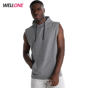 Wellone causal french terry cotton printing logo no sleeve custom pullover mens sleeveless hoodie