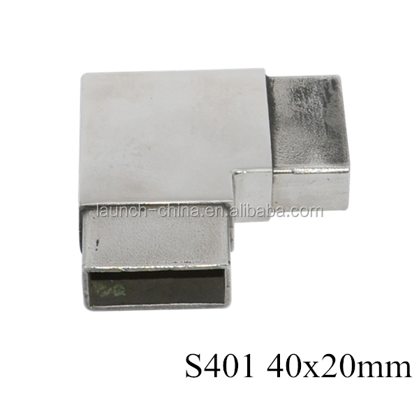 china stainless steel 2-way 90 degree square tube connector 40*20mm