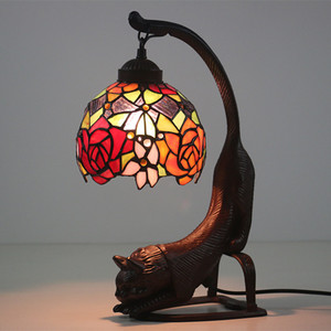 European style retro lampada tiffany decorative cat lamp for bar cafe restaurant desk