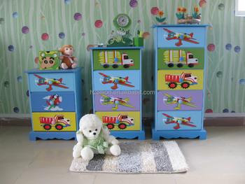 WOODEN HAND PAINTED BOY KIDS ROOM 4 DRAWER TALLBOY CHEST CABINET Furniture