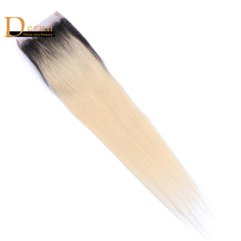 Ombre 1b 613 virgin hair blonde closure two tone virgin hair straight closure remy human hair