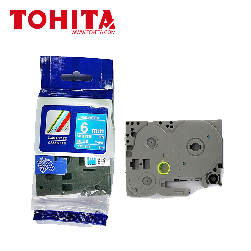 6mm*8m White on Green/Blue/Red/Clear/Black label tape Compatible For Brother TZe715 TZe515 TZe415 TZe115 TZe315