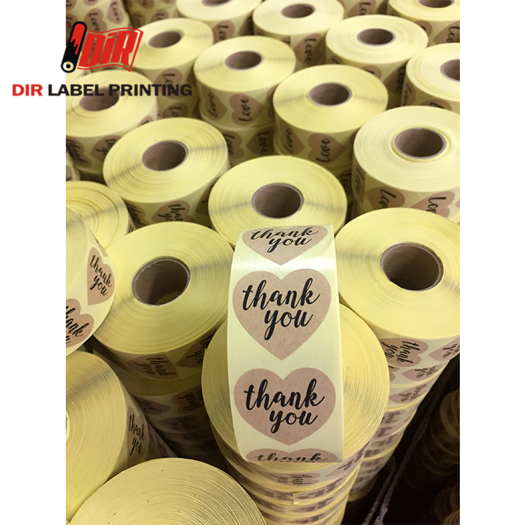 Custom paper love roll thank you adhesive printing sticker <strong>label</strong>
