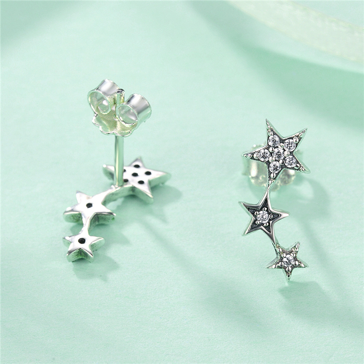 2019 Best Selling 925 Sterling Silver Five Pointed Star CZ Earrings Studs For Girls
