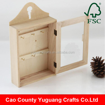 Wooden Wall Mounted Key Box with glass, Natural Key Holder Cabinet
