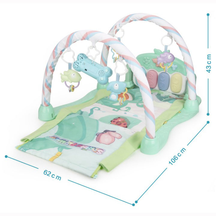Multifunctional activity cute crawling baby play mat with plush toy
