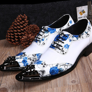 Spring white leather pointed shoes wedding shoes British men's hair stylist increased leisure shoes