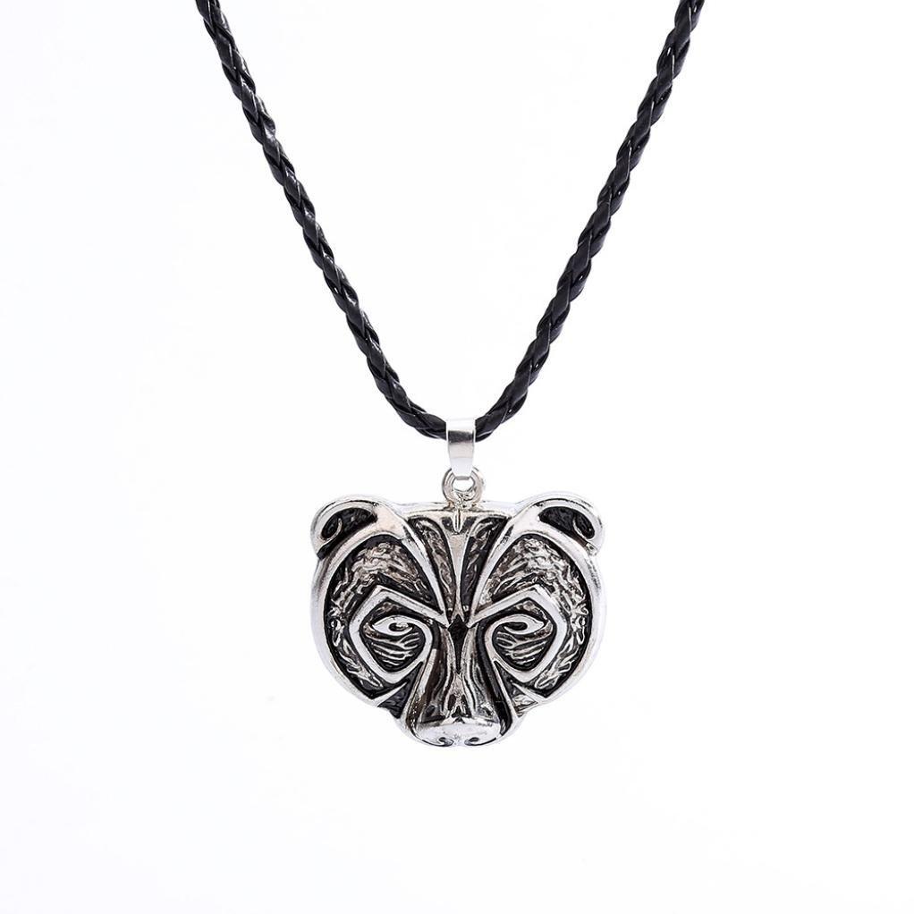 GreatFun Retro Bear Head Necklace Legend Amulet Viking Norse Viking Amulet Necklace Pendant Talisman Jewelry