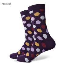 Novo estilo de ponto colorido dos homens meias de algodão penteado marca homem vestido de malha meias presentes de casamento frete grátis eua tamanho ( 7.5 – 12 )