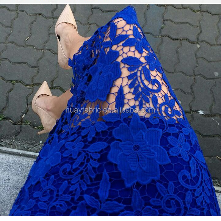 New Heavy royal blue chemical Guipure lace fabric african cord lace for wedding dress