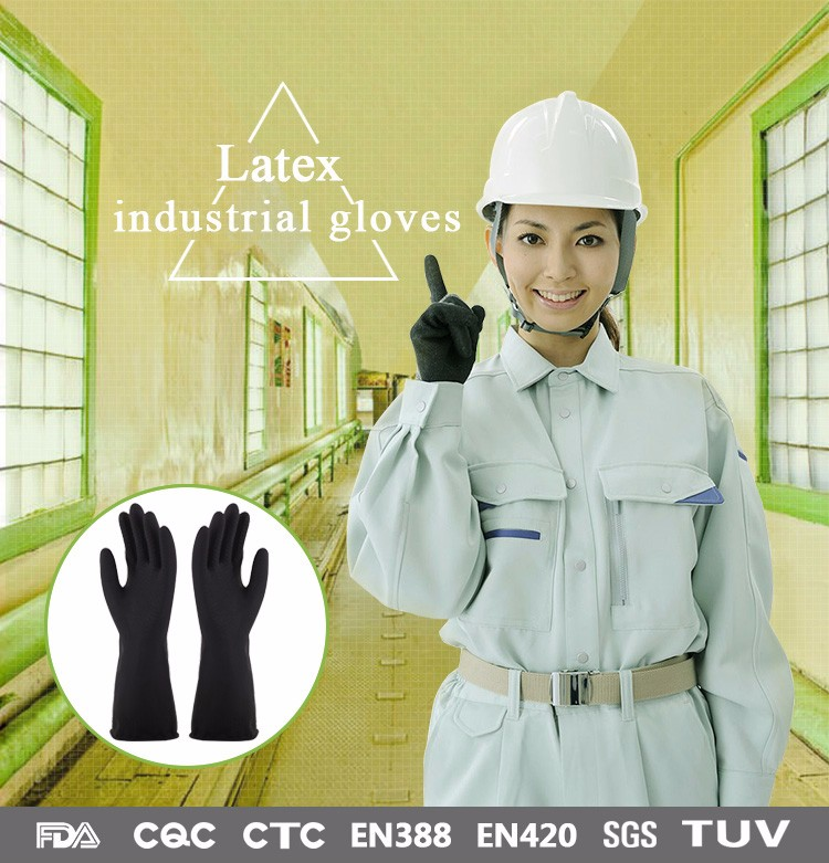 Factory directly supply coated durable black 330mm length safety cuff industrial glove