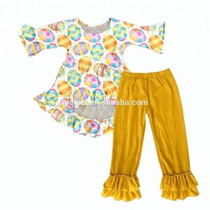 Children ruffle outfits high low dress girls boutique clothing