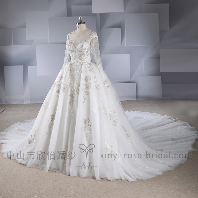 2018 Luxury Amazing Long Sleeve Gold Lace Wedding Dresses Ball Gown