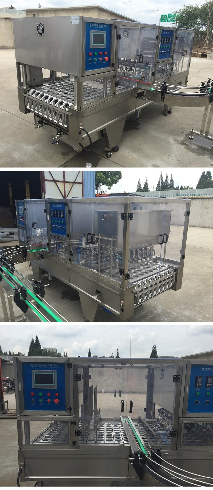 Automatic plastic cup washing filling and sealing packing machine with conveyor for yoghurt cake mineral water jelly cream