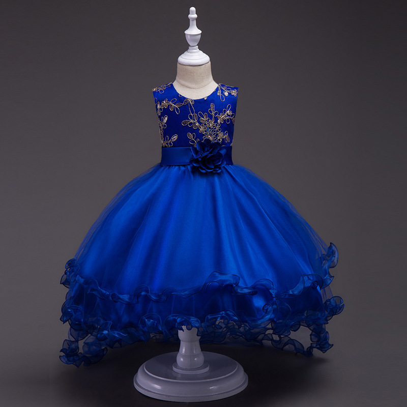 Wholesale Kid Clothing Wedding Dress Bridal Gown Blue Party Maxi Dresses