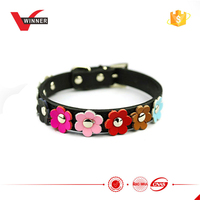 Lovely dog use flowers leather dog collars