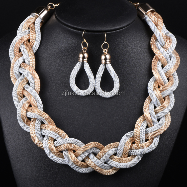 New Jewelry Sets New Arrival Golden Metal Chain Weave Statement Necklace Earrings Sets Women Jewelry Sets Accessories