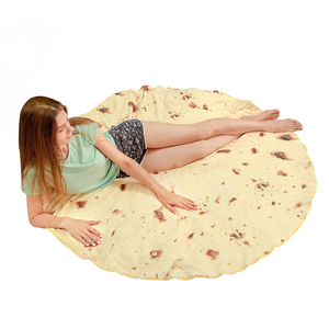 100% Polyester Giant Human Burritos Round Flannel Fleece Blanket for Kids and Adults