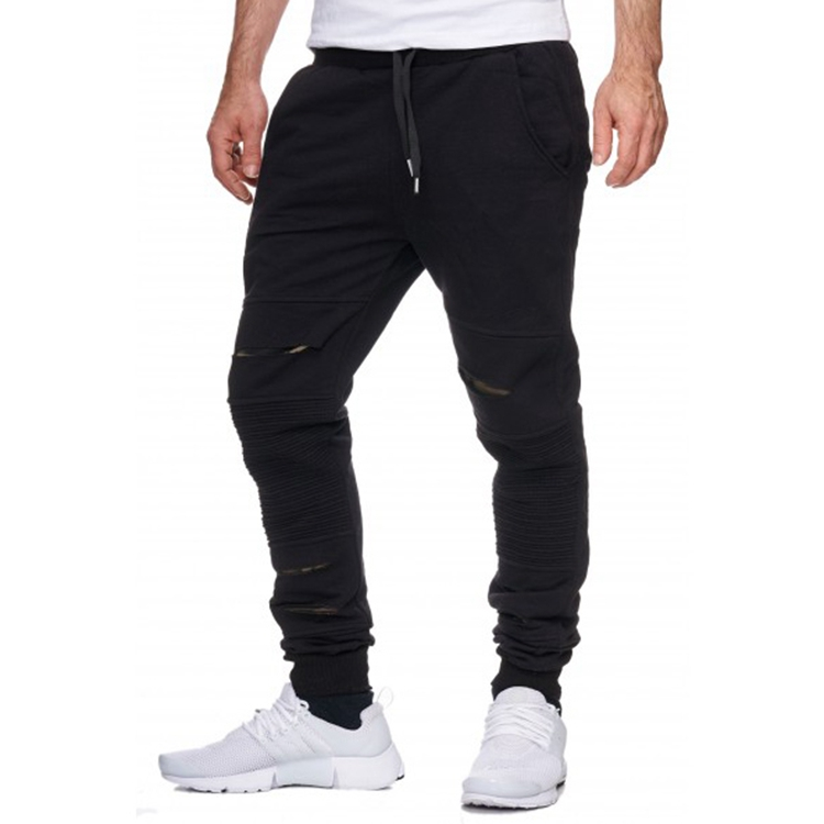 New design cutting track pants black fleece sports pants trousers for men