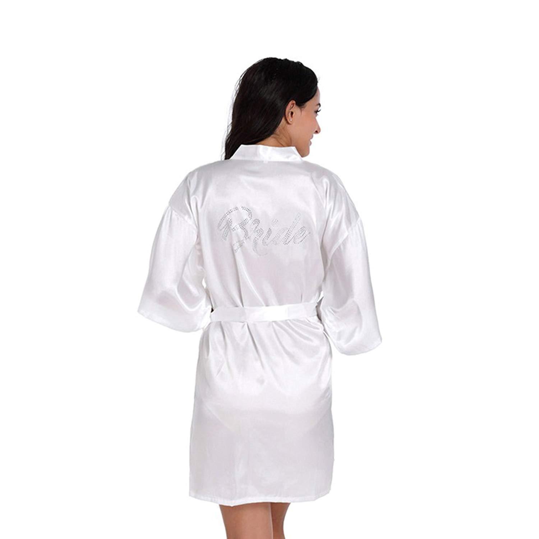 26571e5f6b Get Quotations · CH Q Women s Polyester Thin Kimono Robe Dressing Gown Short  Satin Satin Nightwear Bathrobe Sleepwear Design for